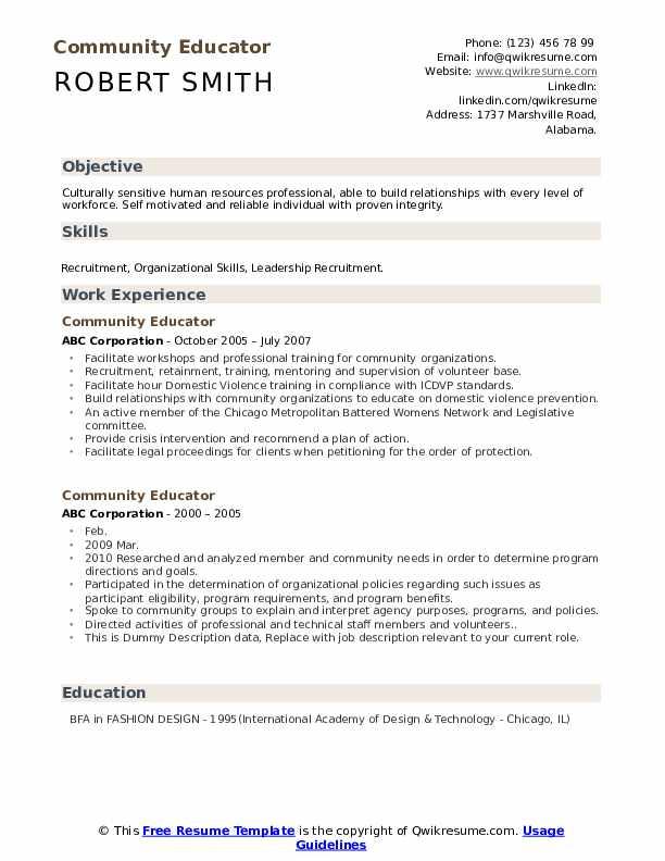 Community Educator Resume example