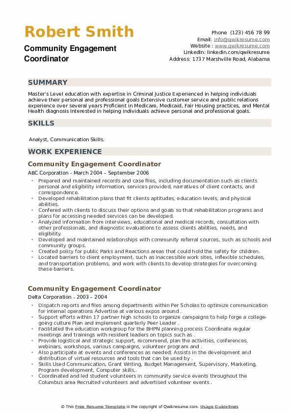 Community Engagement Coordinator Resume example