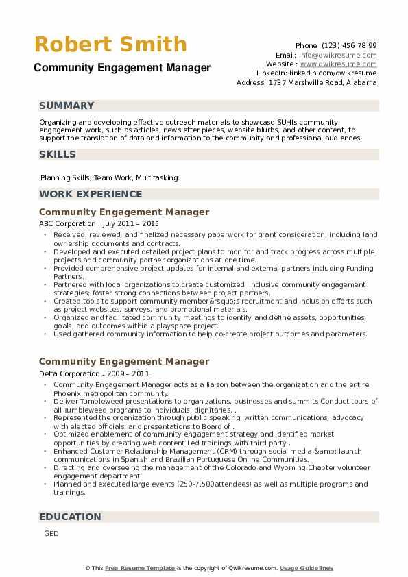Community Engagement Manager Resume example
