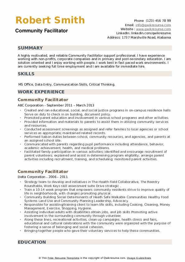 Community Facilitator Resume example