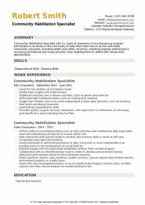 Community Habilitation Specialist Resume example
