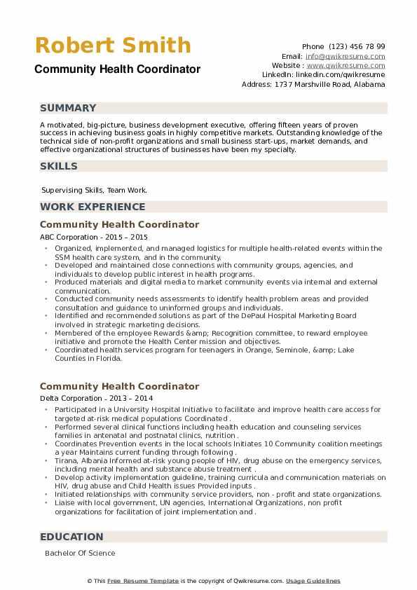 Community Health Coordinator Resume example