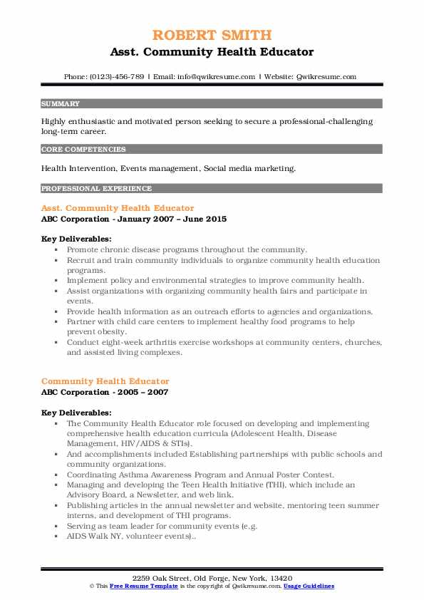 community health educator resume samples
