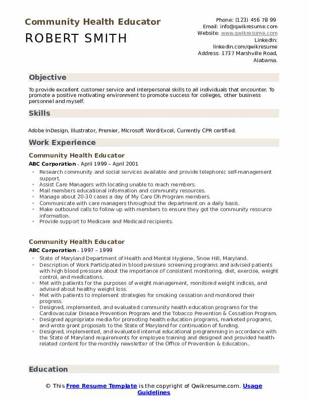 Community Health Educator Resume example