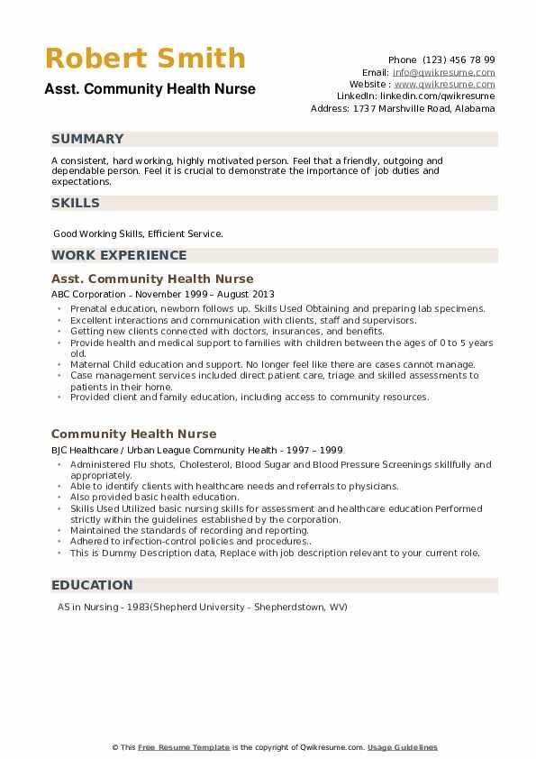 Community Health Nurse Resume Samples Qwikresume