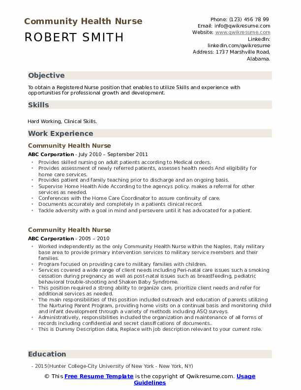 Community Health Nurse Resume example