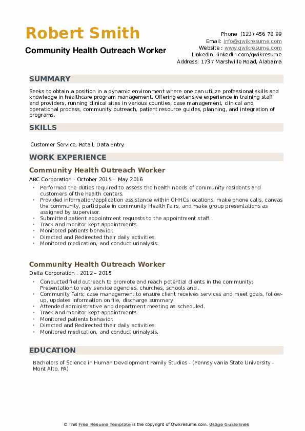 Community Health Outreach Worker Resume example