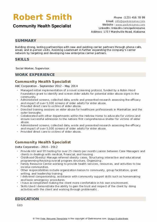 Community Health Specialist Resume example