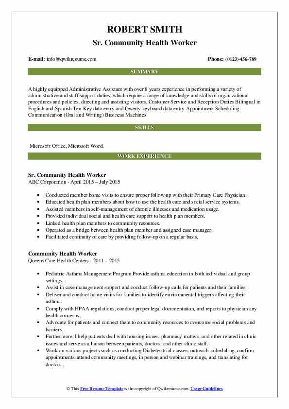 Sr. Community Health Worker Resume Sample