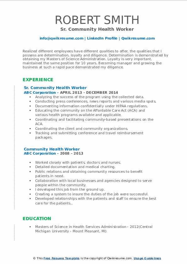 Sr. Community Health Worker Resume Template