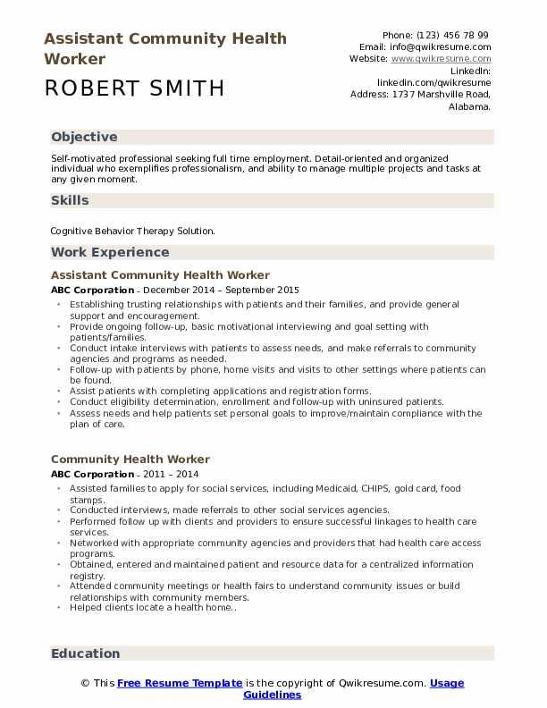 Assistant Community Health Worker Resume Sample