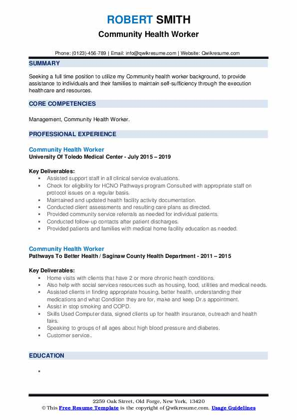 Community Health Worker Resume example