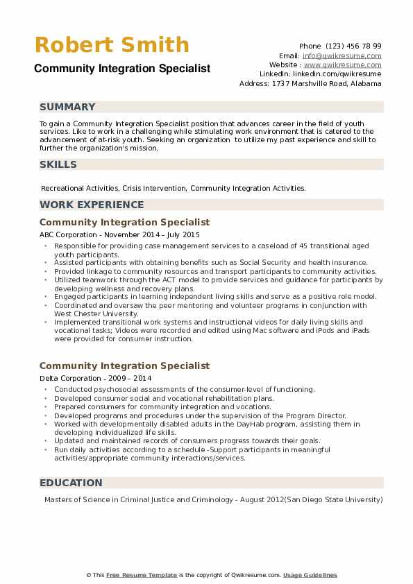 Community Integration Specialist Resume example
