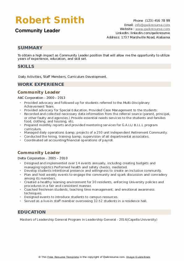 Community Leader Resume example