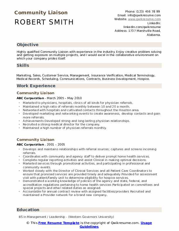 Community Liaison Resume Template