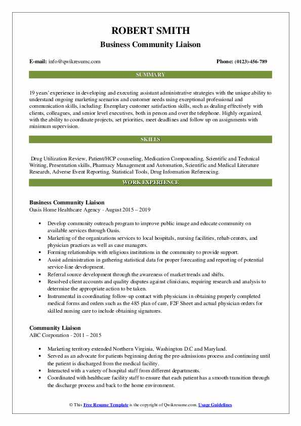Business Community Liaison Resume Format