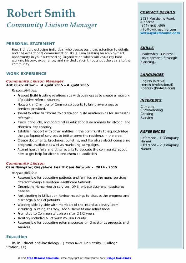 Community Liaison Manager Resume Model