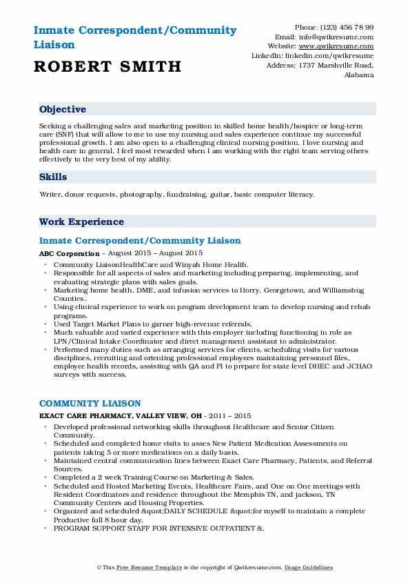Inmate Correspondent/Community Liaison Resume Example