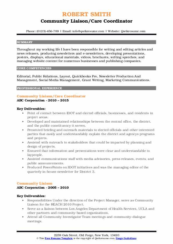 Community Liaison/Care Coordinator Resume Template