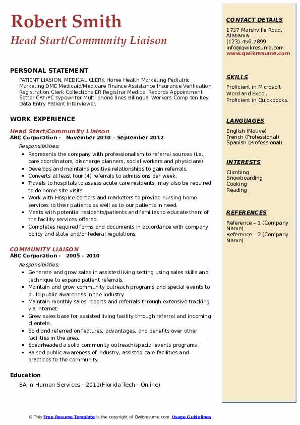 Head Start/Community Liaison Resume Example