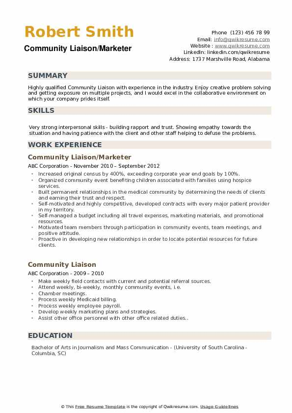 Community Liaison/Marketer Resume Template