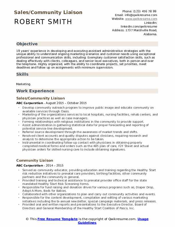 Sales/Community Liaison Resume Example