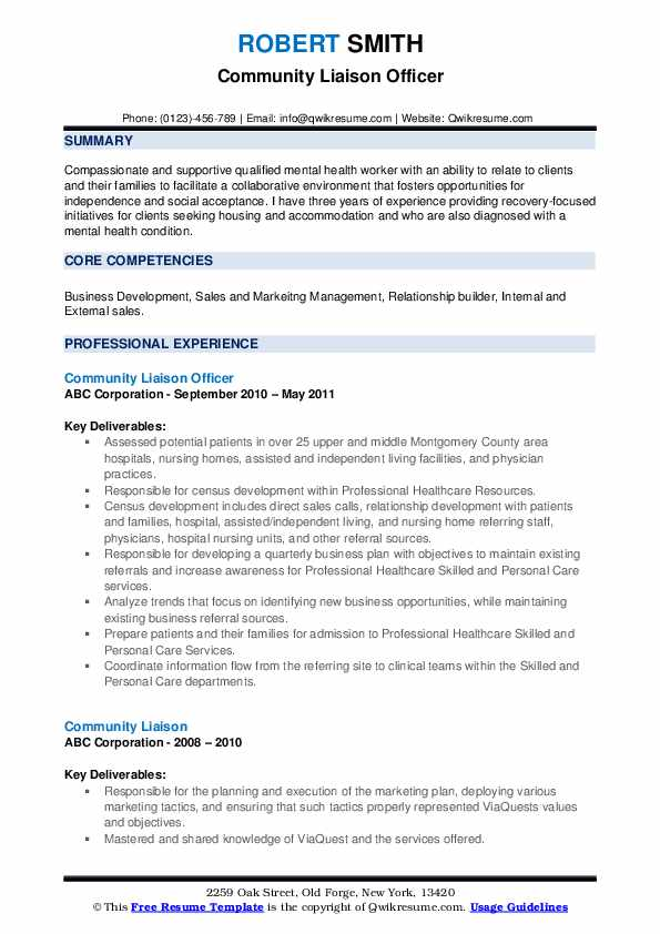 Community Liaison Officer Resume Template
