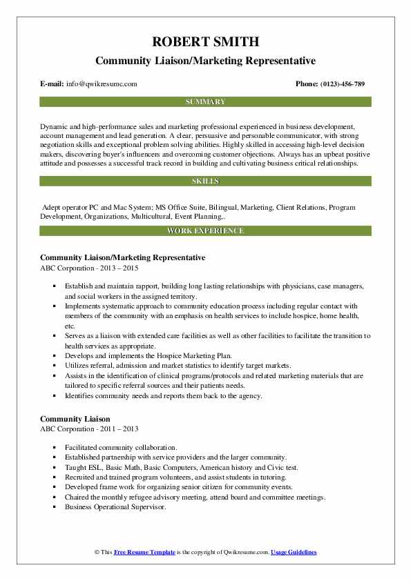Community Liaison/Marketing Representative Resume Format