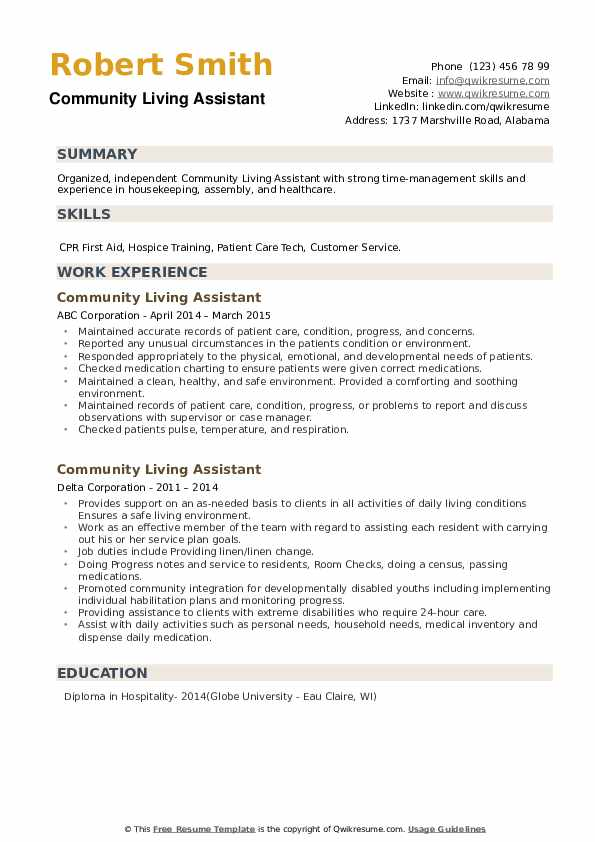 Community Living Assistant Resume example