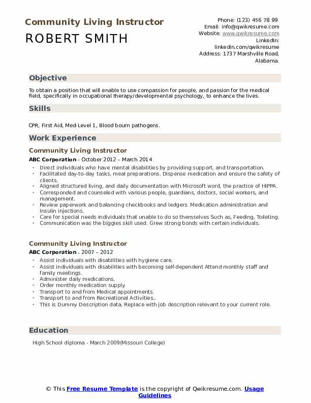 Community Living Instructor Resume example