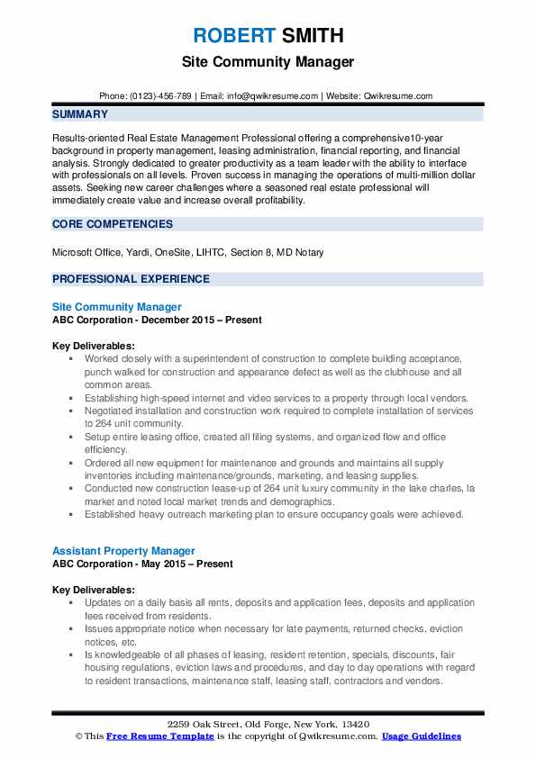 Site Community Manager Resume Sample