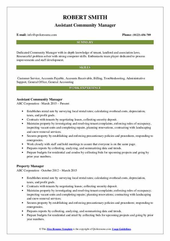 Assistant Community Manager Resume Sample
