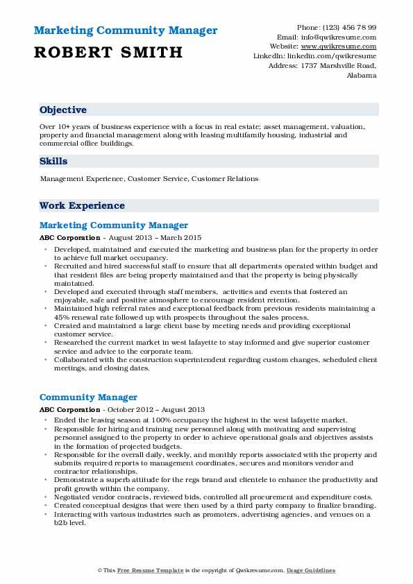 Marketing Community Manager Resume Template
