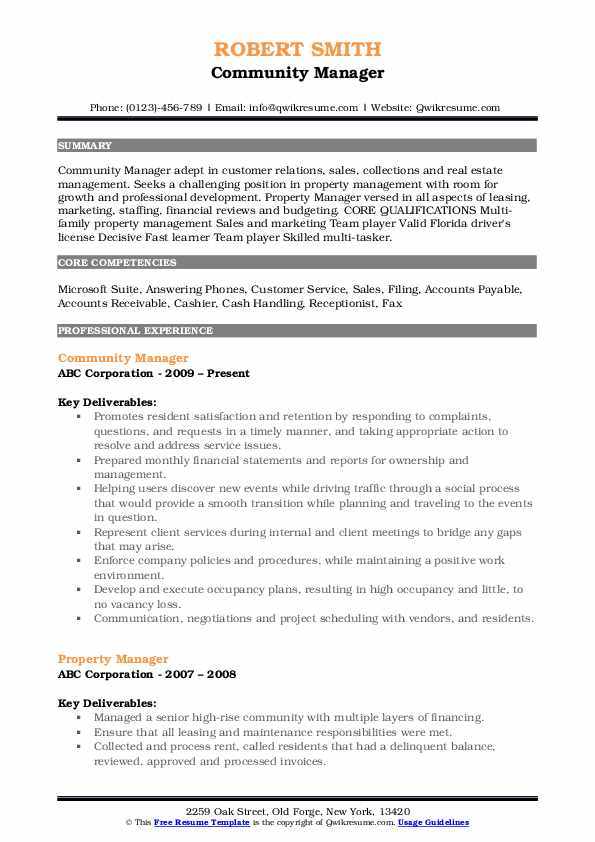 Community Manager Resume Format