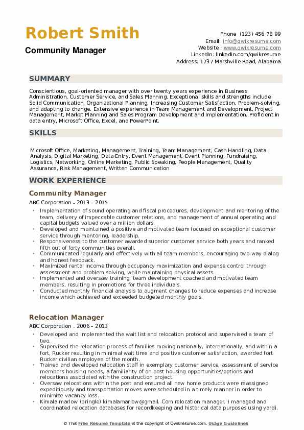Community Manager Resume Example