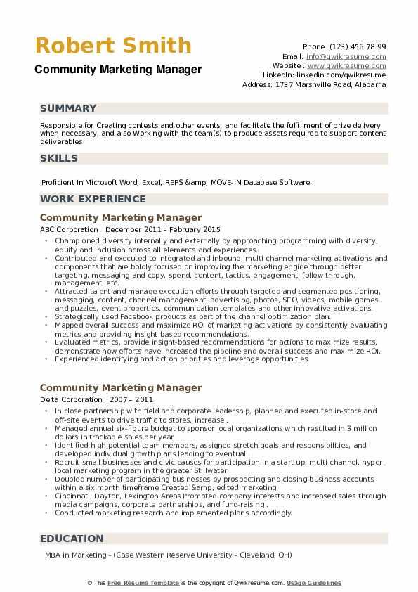 Community Marketing Manager Resume example