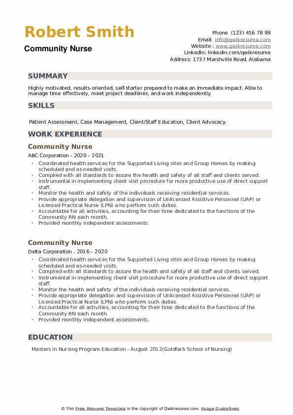 Community Nurse Resume example