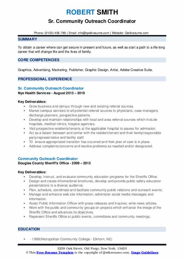 Sr. Community Outreach Coordinator Resume Format