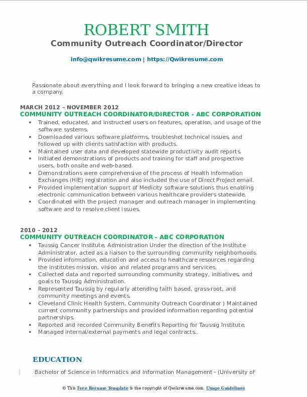 Community Outreach Coordinator/Director Resume Format