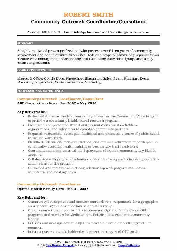 Community Outreach Coordinator/Consultant Resume Template