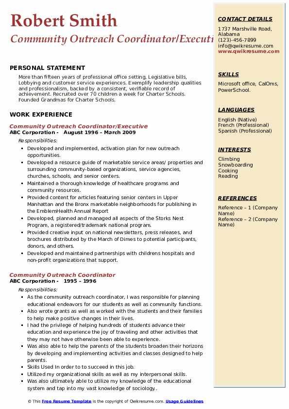 Community Outreach Coordinator/Executive Resume Example