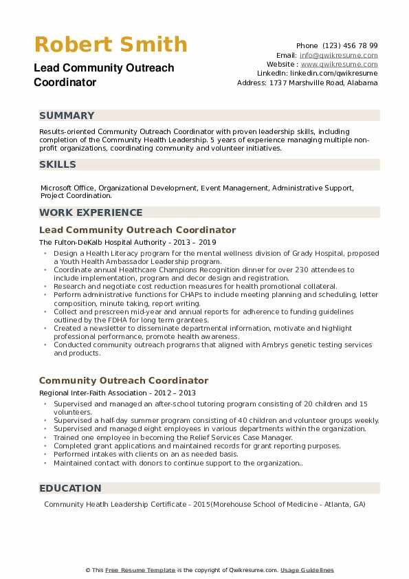 community outreach coordinator resume samples
