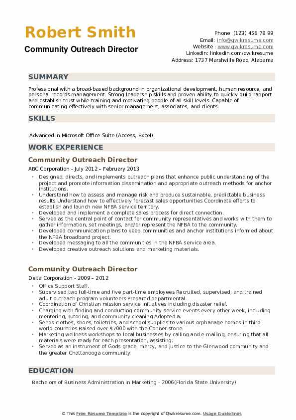 Community Outreach Director Resume example