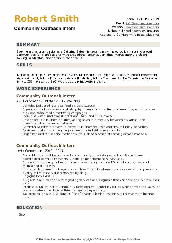 Community Outreach Intern Resume example