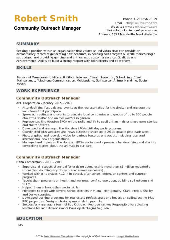 Community Outreach Manager Resume example