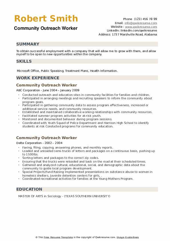 Community Outreach Worker Resume example