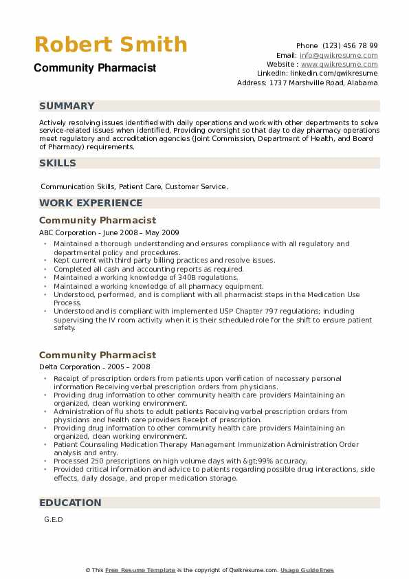 Community Pharmacist Resume example