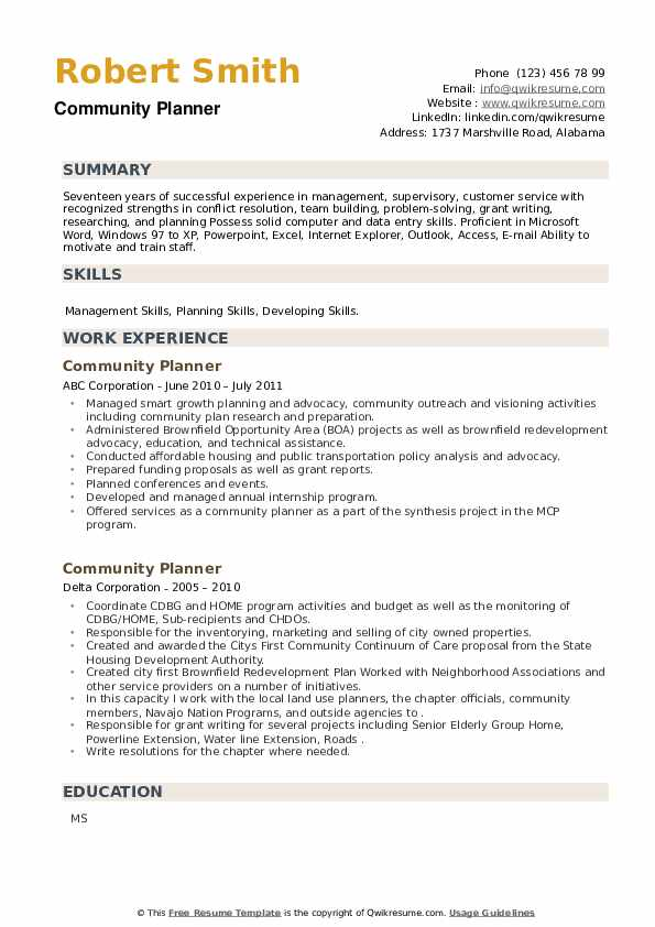 Community Planner Resume example