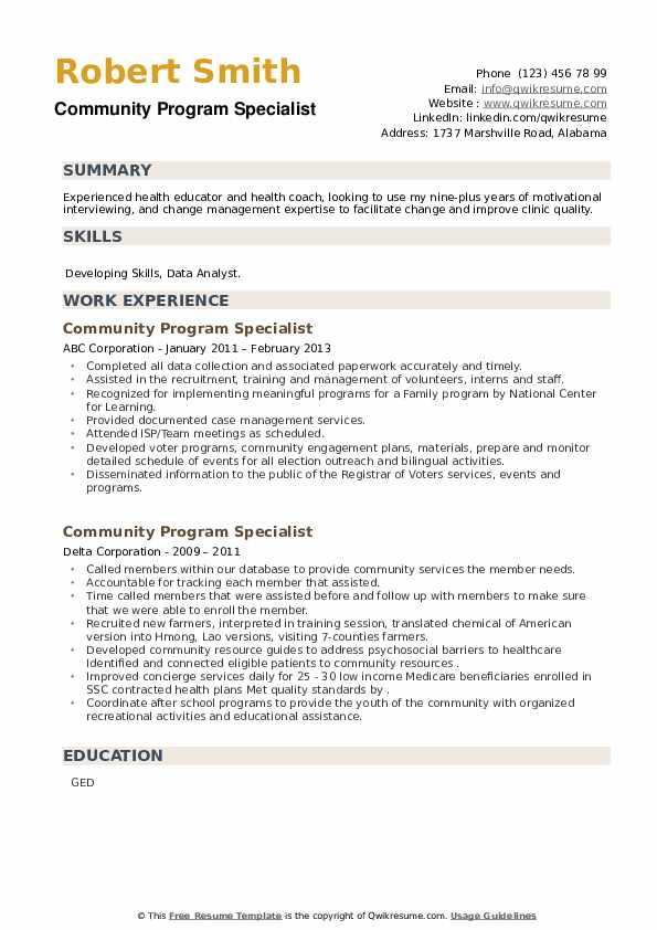 Community Program Specialist Resume example