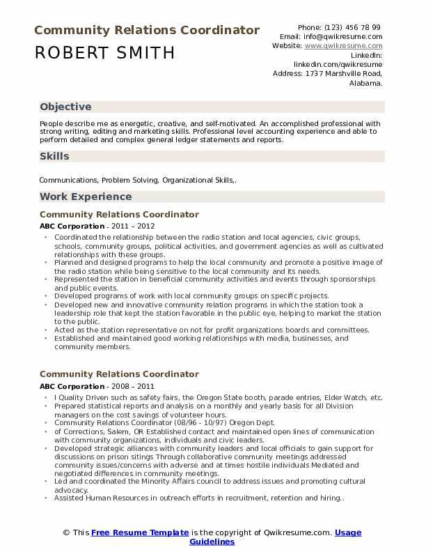 Community Relations Coordinator Resume Format